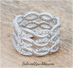 Brandy CZ Rhodium Twist Wide Cocktail Ring | 1.5ct | Cubic Zirconia' » Beloved Sparkles | Fine Cubic Zirconia Jewelry | Crystal Hair Accessories