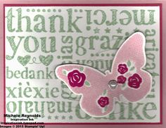 Floral Wings Thanks Butterfly by Michelerey - Cards and Paper Crafts at Splitcoaststampers