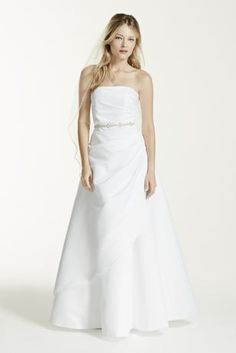 Fresh Satin A line Wedding Dress with Asymmetrical Skirt Style XLT