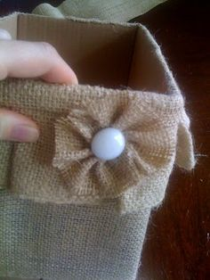 Burlap box cover. Would look cute in a craft room with burlap accents!
