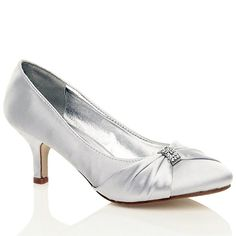 1348c5828c426 MyShoeStore® WOMENS SATIN HEELS LADIES WEDDING BRIDAL BRIDESMAID STILETTO LOW  MID KITTEN HEEL DIAMANTE BUCKLE EVENING PARTY PROM SLIP ON CLOSE TOE SMART  ...