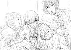 Sebastian Michaelis, Ciel Phantomhives, and Elizabeth Midford [Art by Emi, do not remove source]