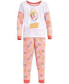 Dc Comics Girls' or Little Girls' Two-Piece Shopkins Poppy Corn Pajama Set
