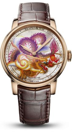 Arnold & Son HM Dragon   The Métiers d'Art Dragon Unique Piece from Arnold & Son will appeal to watch connoisseurs who appreciate finest-quality watchmaking combined with beautiful arts and crafts. This unique piece depicts a hand-painted dragon miniature, the rich, deep colours set off to perfection by the understatement of the dial in white mother-of-pearl. The exclusive nature of this wonderful reference is underscored by its limitation to just one example. Fine Watches, Cool Watches, Watches For Men, Men's Watches, Arnold Son, Marine Chronometer, Dragon Miniatures, Skeleton Watches, Luxury Watches