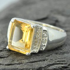 Citrine ring, sterling silver ring, gemstone ring, heart ring, yellow, november birthstone, one of a kind