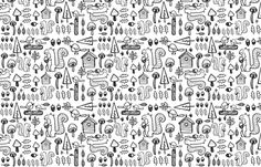 woodland large scale illustration fabric by laura_the_drawer on Spoonflower - custom fabric