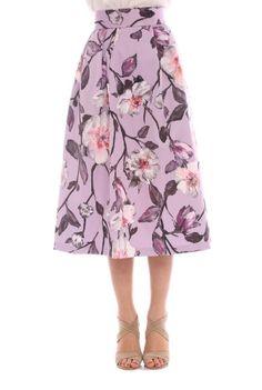 Fusta din bumbac cu imprimeu floral BRN-21801173 -  Ama Fashion