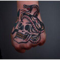 Traditional hand tattoo #skull & #snake