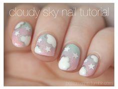 Cloudy sky nail tutorial - Imgur