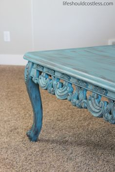 decorative parkdale casual teal rectangle coffee tablecrafted home
