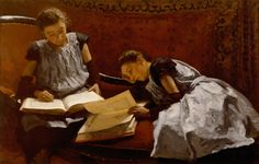 The Sisters Arntzenius (1895). Willem Bastiaan Tholen (Dutch, 1860-1931). Oil on canvas. Museum Gouda. Tholen depicts both Dora (left) and Elisabeth (right) while they are engrossed in reading, seated on a chaise lounge.