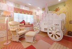 A princess from the start, this extravagant crib paired with girly decor is perfect for a new baby girl.
