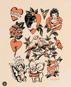Valentine's Day is a Walk-In Flash Day this year at I will be tattooing along side who will be… Traditional Heart Tattoos, Traditional Tattoo Flowers, Traditional Tattoo Old School, Traditional Tattoo Flash, Cupid Tattoo, Cherub Tattoo, Pin Up Tattoos, Body Art Tattoos, Sleeve Tattoos
