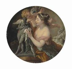 1733 Allegory of Sculpture, with a model of Silenus with the infant Dionysus by Jean-François de Troy (Paris 1679-1752)