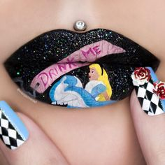 Alice in Wonderland. Body Painting with Lip Art. To see more art and information about Jazmina Daniel click the image.