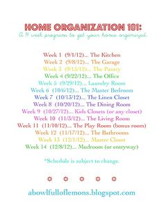 Home Organization 101 Schedule | A Bowl Full of Lemons