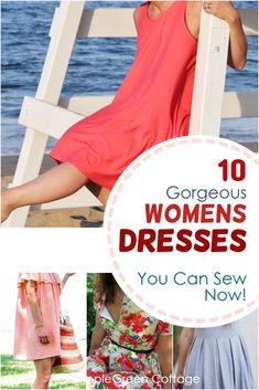 Summer dress patterns for women - here are 10 free dress patterns to sew this summer. Some of them are easy sewing projects and all but one include a free pattern. Check them out, learn how to make a dress, download teh free dress patterns and sew a few for yourself this summer! #dresspatterns