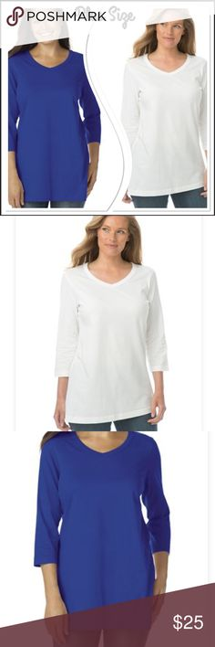 Perfect V-neck tee's, 3/4-sleeve You get a package of two, perfect plus size tee that will go with any bottoms is here. These 3/4 sleeve shirts in Blueberry and White,  can be dressed up or down and it always comfortable. relaxed silhouette fits slightly oversized for a comfy, roomy fit V-neck is open and airy 3/4 sleeves straight hem soft, washable cotton knit; is cotton/polyester blend knit imported great with jeans    Women's plus size top sizes: 2X(26W-28W) Tops Tees - Long Sleeve
