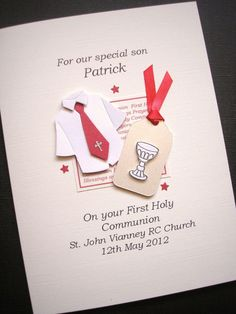 1st communion cards for boys | Boys Personalised First Holy Communion Card - Communion Shirt and ...