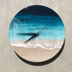 The possibilities with resin are endless! This gorgeous clock is a perfect examp. by Coastal Decor Diy Resin Art, Epoxy Resin Art, Diy Resin Crafts, Diy Art, Resin Furniture, Plywood Furniture, Modern Furniture, Furniture Design, Diy Clock