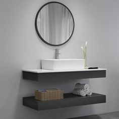Bathroom decor for your master bathroom remodel. Learn bathroom organization, bathroom decor suggestions, master bathroom tile a few ideas, bathroom paint colors, and much more. Floating Sink, Floating Bathroom Vanities, Single Bathroom Vanity, Bathroom Sets, Bathroom Faucets, Master Bathrooms, Bathroom Mirrors, Bathroom Cabinets, Modern Bathrooms