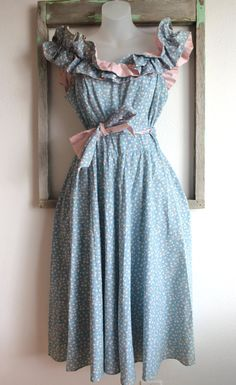 Vintage Baby Blue Calico Ruffle Dress Sz M. $38.00, via Etsy.