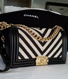 CHANEL-Limited-Edition-Boy-Bag-Black-White-Chevron-Professionally-Authenticated