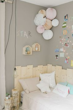 Cute headboard + art wall