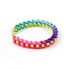 Gorgeous Punk Women Girl Colorful Gold Tone Chain Twine Rope Bracelet