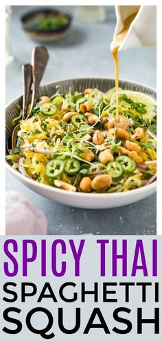 This Spicy Thai Spaghetti Squash Salad is jam packed with flavor & finished with a silky, smooth coconut based dressing. Light, yet satisfying it's perfect for lunch or dinner! Best Spaghetti Squash Recipes, Spicy Spaghetti, Spaghetti Squash Noodles, Spaghetti Squash Casserole, Taco Bake, Vegetable Recipes, Vegetarian Recipes, Healthy Recipes, Vegetable Noodles
