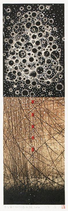 冬を放つものたち Emitting Winter D-10.Oct.2010painting, collage on original printed paper takahiko hayashi  林孝彦 HAYASHI Takahiko  2010