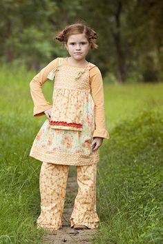 Simply Terrific Tee-Apricot  Knot Dress-Apricot Floral Double Ruffle Pants-Apricot Floral