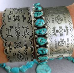 Pretty Old Pawn Turquoise Navajo Sterling Row Cuff Bracelet