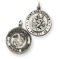 $25.19 Sterling Silver Reversible US Marine Corp St.Christopher Pendants