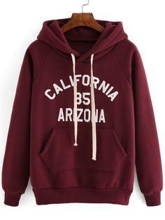 Hooded+Drawstring+Letter+Print+Maroon+Sweatshirt+15.40 allmänt en hoodie också