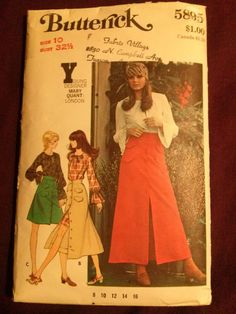 Rare Vintage 1970s Misses' Mary Quant:London Skirt&Blouse-Butterick5895-size 10