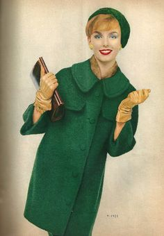 1958 ~ Love the color.  I would live in winter coats if I could.