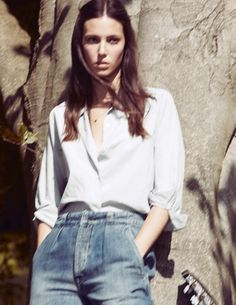 MiH Jeans SS12 campaign featuring Ruby Aldridge in the Portobello jean and Tails Shirt.
