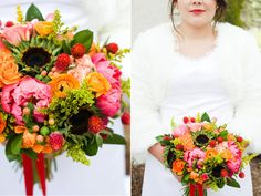 fall coral peony coral hypericum berry coral spray rose petal less sunflower wedding flowers utah calie rose heather bliss photography