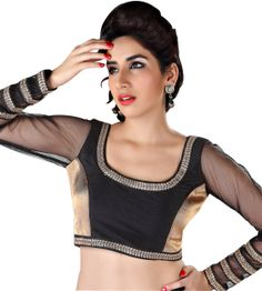 Black Long Sleeve Saree Blouse X-137