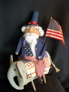 Americana Uncle Sam doll riding an elephant by Dumplinragamuffin, $11.00