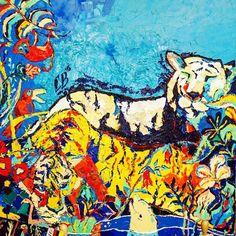 Из серии: Тигры в городе.. На прошлом @lambadamarket я познакомилась с художницей Валерией Сальниковой которая рисует такие вот картины. Очень позитивно!