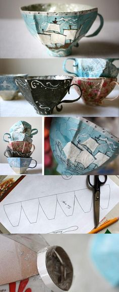 Paper Mache Teacup Pattern (w/link to tutorial) from craftuts.com