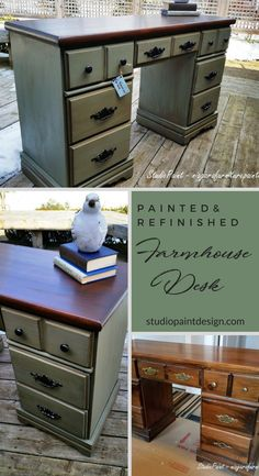 Green Painted and Refinished Pine Farmhouse Desk Shabby Chic Country Chic Furniture Annie Sloan Chalk Paint General Finishes Gel Stain Glazing Technique Painted Furniture DIY Inspiration furniture for kids furniture thrift stores furniture for kitchen Green Painted Furniture, Chalk Paint Furniture, Refurbished Furniture, Repurposed Furniture, Furniture Makeover, Diy Furniture, Kitchen Furniture, Desk Makeover, Antique Furniture