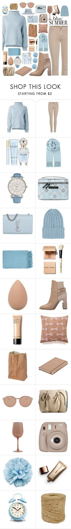 """Blue Summer"" by chocolatecupcakes545 ❤ liked on Polyvore featuring Le Kasha, 7 For All Mankind, Marc Jacobs, BeckSöndergaard, Kim Rogers, Petunia Pickle Bottom, Yves Saint Laurent, The Elder Statesman, Surya and Bobbi Brown Cosmetics"