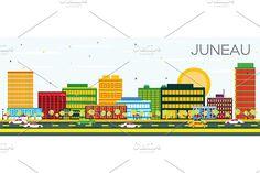 #Juneau #Skyline with #Color #Buildings  by Igor Sorokin on @creativemarket