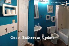 Guest Bathroom Update- paint and storage teal bathroom
