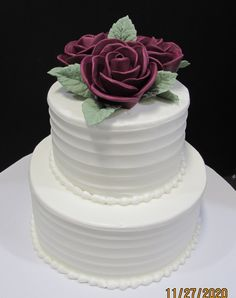 Small tiers white buttercream iced with burgundy roses Buttercream Roses, Traditional Wedding Cakes, Wedding Reception, Burgundy, Desserts, Food, Marriage Reception, Tailgate Desserts, Deserts
