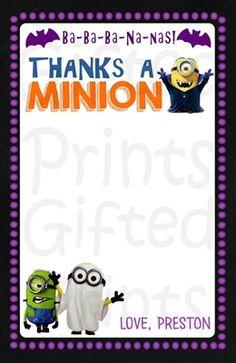 Minions Halloween Thank You Card Halloween Minions, Halloween Themes, Minion Theme, Birthday Thank You Cards, Printable Thank You Cards, Themes Free, Customer Service, Thankful, Digital