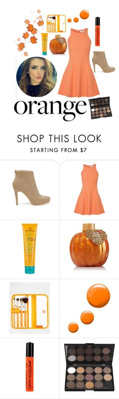"""""""#Bella Thorne #orange"""" by girl3beauty ❤ liked on Polyvore featuring beauty, Elizabeth and James, MDSolarSciences, Models Own, Topshop and NYX"""